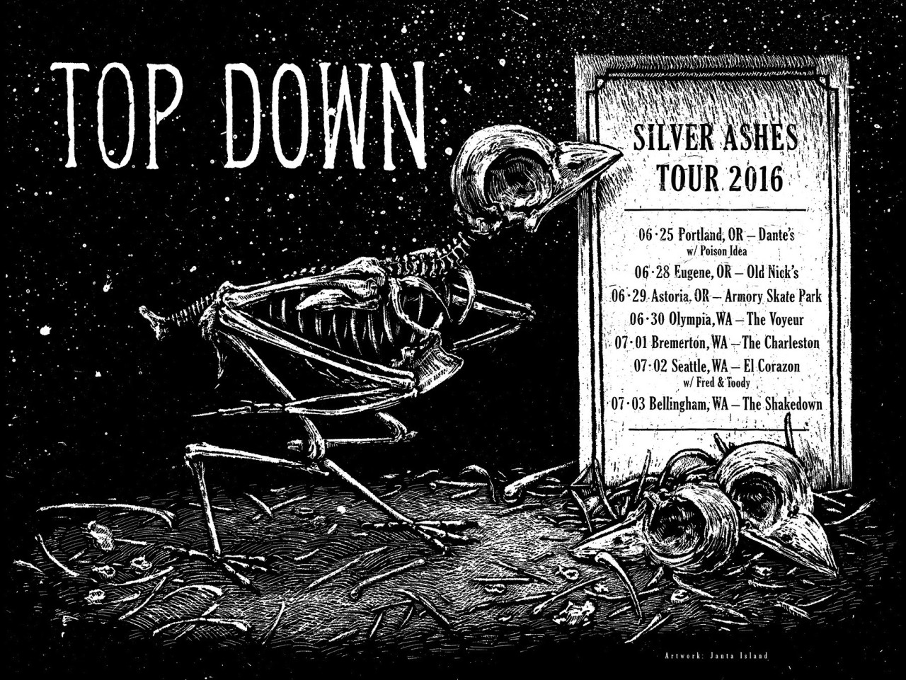 TOP DOWN Silver Ashes Tour Poster 2016
